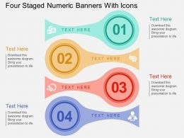 kx Four Staged Numeric Banners With Icons Flat Powerpoint Design
