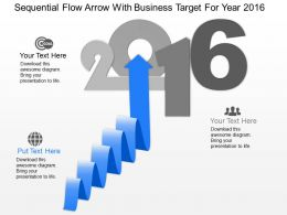 kx Sequential Flow Arrow With Business Target For Year 2016 Powerpoint Template