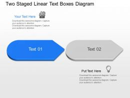 Kx Two Staged Linear Text Boxes Diagram Powerpoint Template