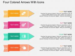Ky Four Colored Arrows With Icons Flat Powerpoint Design