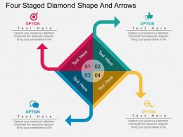 ky Four Staged Diamond Shape And Arrows Flat Powerpoint Design