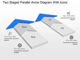 Ky Two Staged Parallel Arrow Diagram With Icons Powerpoint Template