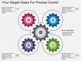 kz Four Staged Gears For Process Control Flat Powerpoint Design