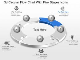 La 3d Circular Flow Chart With Five Stages Icons Powerpoint Template Slide