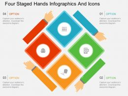 la Four Staged Hands Infographics And Icons Flat Powerpoint Design