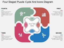 la Four Staged Puzzle Cycle And Icons Diagram Flat Powerpoint Design
