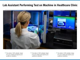 Lab Assistant Performing Test On Machine In Healthcare Clinic