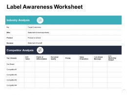 Label Awareness Worksheet Ppt Powerpoint Presentation Icon Professional
