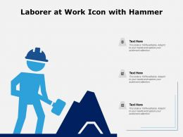 Laborer At Work Icon With Hammer