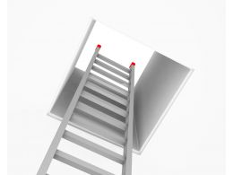 Ladder Coming Out From Box Shows Way Of Freedom Stock Photo