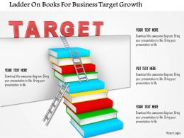 Ladder On Books For Business Target Growth Image Graphics For Powerpoint