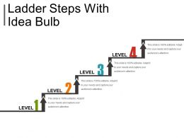 Ladder Steps With Idea Bulb Powerpoint Slide Backgrounds