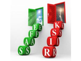 Ladders Made Of Cubes For Safe And Risk Concept Stock Photo