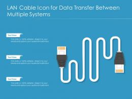 LAN Cable Icon For Data Transfer Between Multiple Systems