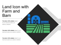 Land Icon With Farm And Barn