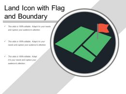 Land Icon With Flag And Boundary