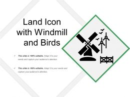 Land Icon With Windmill And Birds