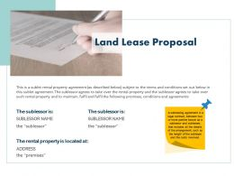 Land Lease Proposal Ppt Powerpoint Presentation Professional Good