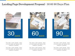Landing Page Development Proposal 30 60 90 Days Plan Ppt Powerpoint Styles