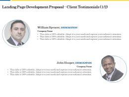 Landing Page Development Proposal Client Testimonials L2056 Ppt Powerpoint Styles
