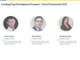 Landing Page Development Proposal Client Testimonials Ppt Powerpoint Mockup