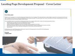 Landing Page Development Proposal Cover Letter Ppt Powerpoint Show Smartart