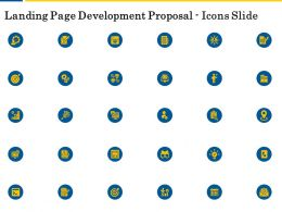 Landing Page Development Proposal Icons Slide Ppt Powerpoint Summary Examples