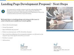 Landing Page Development Proposal Next Steps Ppt Powerpoint Presentation Ideas Visuals