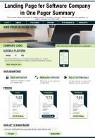 Landing Page For Software Company In One Pager Summary Presentation Report PPT PDF Document
