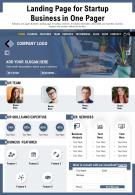 Landing Page For Startup Business In One Pager Presentation Report Infographic PPT PDF Document