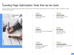 Landing Page Optimization Tools That Can Be Used Site Ppt Powerpoint Icon Themes