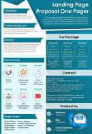 Landing Page Proposal One Pager Presentation Report Infographic PPT PDF Document