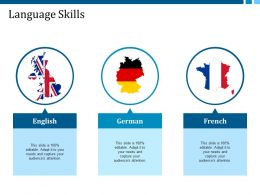 Language Skills English German French Ppt Summary Slide Portrait