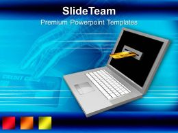 Laptop And Credit Card Internet Banking PowerPoint Templates PPT Themes And Graphics 0213