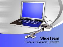 Laptop And Key Chain Security Powerpoint Templates PPT Backgrounds For Slides 0213