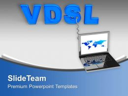 Laptop Connected With VDSL Internet PowerPoint Templates PPT Themes And Graphics 0213