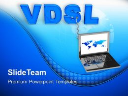 laptop connected with vdsl powerpoint templates ppt themes and graphics 0213