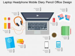 Laptop Headphone Mobile Diary Pencil Office Design Flat Powerpoint Design
