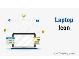 Laptop Icon Business Statistics Circle Growth Gear Connection Strategy Organization
