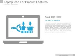 Laptop Icon For Product Features Powerpoint Slide Designs