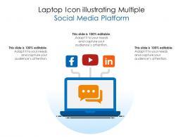 Laptop Icon Illustrating Multiple Social Media Platform