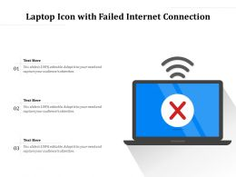 Laptop Icon With Failed Internet Connection