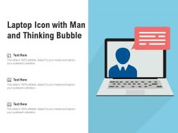 Laptop Icon With Man And Thinking Bubble