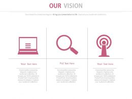 Laptop Magnifier Ouch Technology For Business Vision Powerpoint Slides