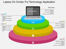 Laptop On Circles For Technology Application Flat Powerpoint Design