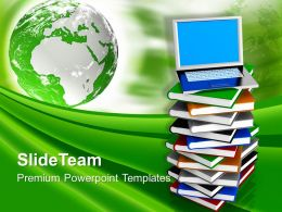 Laptop On Pile Of Books With Globe Powerpoint Templates Ppt Themes And Graphics