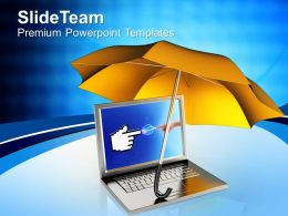 Laptop Under Orange Umbrella Powerpoint Templates Ppt Themes And Graphics