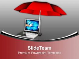 Laptop Under Umbrella Security Powerpoint Templates Ppt Backgrounds For Slides 0113