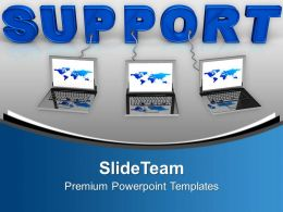 Laptop Wired To Support Central Server PowerPoint Templates PPT Themes And Graphics 0213