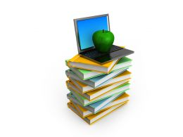 Laptop With Apple On Books Stack Stock Photo